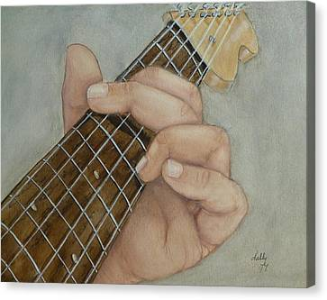 Guitar Strumming In 'g' Cord Canvas Print by Kelly Mills