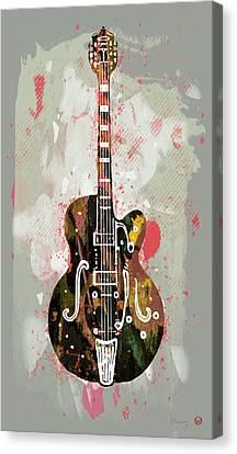 Guitar Stylised Pop Art Poster Canvas Print by Kim Wang