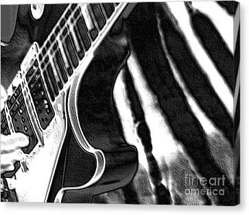 Guitar Zebra Canvas Print by Roxy Riou