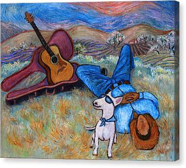 Canvas Print featuring the painting Guitar Doggy And Me In Wine Country by Xueling Zou