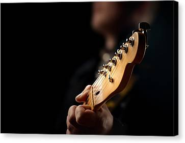 Performers Canvas Print - Guitarist Close-up by Johan Swanepoel