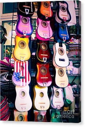 Guitars In San Antonio Market Canvas Print by Sonja Quintero