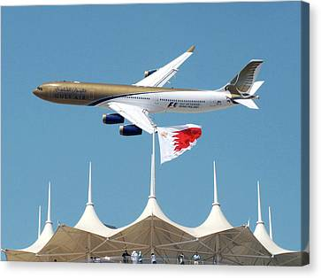 Gulf Air A340 Canvas Print by Graham Taylor