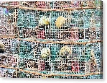 Canvas Print featuring the digital art Gulf Coast Crab Traps by JC Findley