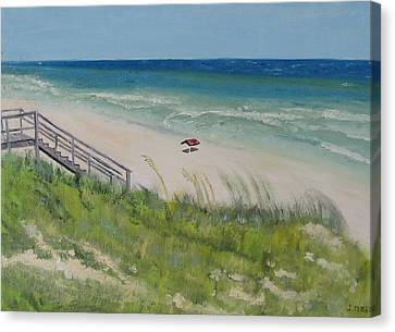 Gulf View From Dune Canvas Print by John Terry