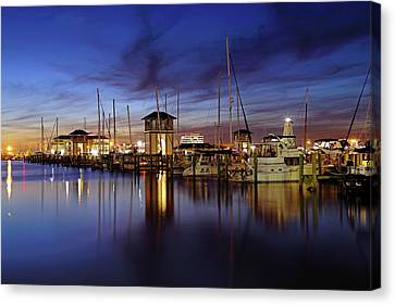Canvas Print featuring the photograph Gulfport Harbor At Dusk - Lighthouse - Mississippi by Jason Politte