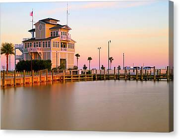 Canvas Print featuring the photograph Gulfport Harbor Master's Office - Mississippi - Sunset by Jason Politte