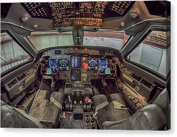 Gulfstream Cockpit Canvas Print by Guy Whiteley