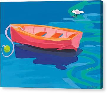 Rowboat Canvas Print - Gull And Boat by Sarah Gillard