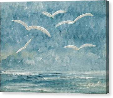 Flying Gull Canvas Print - Gulls In The Storm by Angeles M Pomata