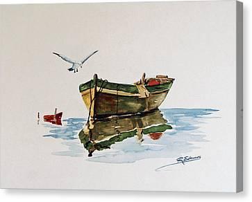 Gull's Skiff Canvas Print by Raymond Edmonds