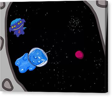 Gummy Bear In Space With Alien Canvas Print by Jera Sky