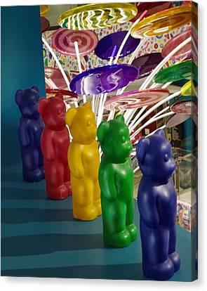 Gummy Bears All In A Row Canvas Print by Chrystyne Novack