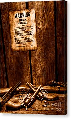 Law Enforcement Canvas Print - Gun Control - Sepia by Olivier Le Queinec