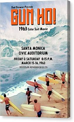 Gun Ho Vintage Surfing Poster Canvas Print by Ron Regalado