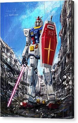 Gundam Lingotto Saber Canvas Print by Andrea Gatti