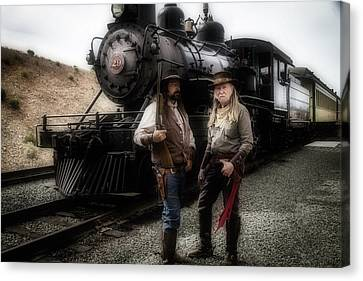 Gunfighters In Front Of Old Train Canvas Print