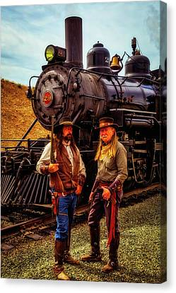 Gunfighters With Old Train Canvas Print