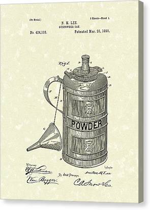 Gunpowder Can 1890 Patent Art  Canvas Print by Prior Art Design