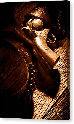 Gunslinger Tool - Sepia Canvas Print by Olivier Le Queinec