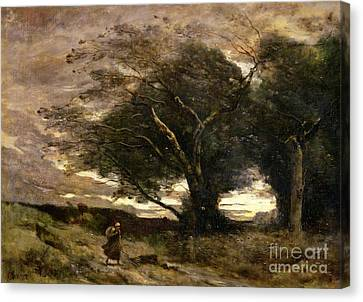 Gust Of Wind Canvas Print by Jean Baptiste Camille Corot