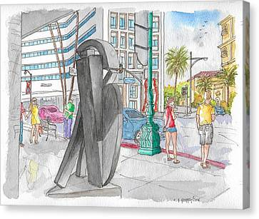 Guy Dill's Sculpture From The Belgian Suite, In Wilshire Blvd., Beverly Hills, California Canvas Print by Carlos G Groppa