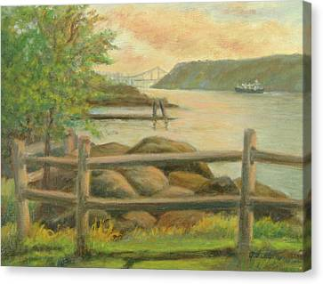 Gwb From Hastings Canvas Print by Phyllis Tarlow
