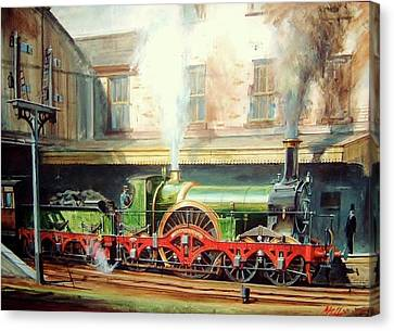 Canvas Print featuring the painting Gwr Broad Gauge Single. by Mike Jeffries