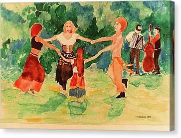Gypsy Canvas Print - Gypsies Dancing by Fred Jinkins