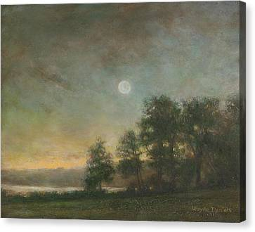Canvas Print featuring the painting Gypsy Bay Moonlight by Wayne Daniels