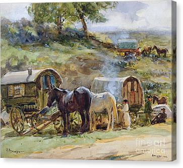 Traveller Canvas Print - Gypsy Encampment by John Atkinson