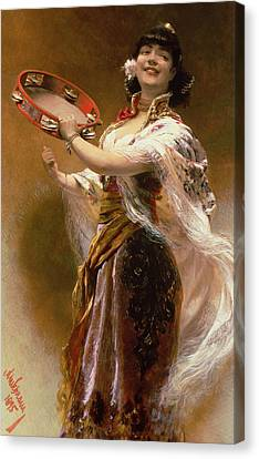 Gypsy Girl With A Tambourine Canvas Print by Alois Hans Schram