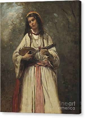 Gypsy Girl With Mandolin Canvas Print by MotionAge Designs