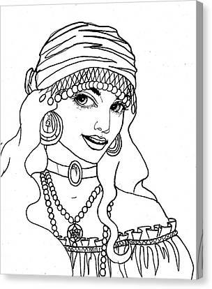 Gypsy Sketch Canvas Print by Scarlett Royal