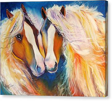 Gypsy Vanner Twins Equine Original Canvas Print by Marcia Baldwin