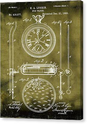 H A Lugrin Stop Watch Patent 1889 In Grunge Canvas Print by Bill Cannon