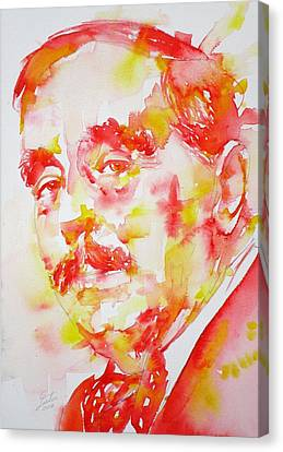 Canvas Print featuring the painting H. G. Wells - Watercolor Portrait by Fabrizio Cassetta