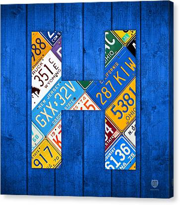 H License Plate Letter Art Blue Background Canvas Print by Design Turnpike