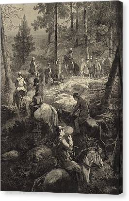 Hunting Canvas Print - H R H The Prince Of Wales Deer Stalking  by Mihaly von Zichy
