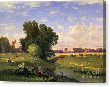 Hackensack Meadows - Sunset Canvas Print by George Snr Inness