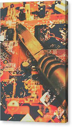 Hacking Knife On Circuit Board Canvas Print by Jorgo Photography - Wall Art Gallery