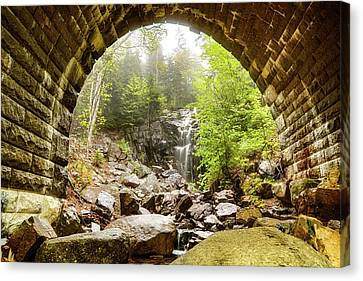 Canvas Print featuring the photograph Hadlock Falls Under Carriage Road Arch by Jeff Folger