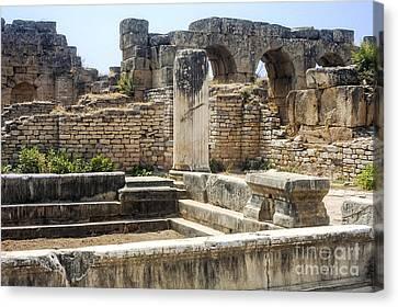 Aphrodisias Canvas Print - Hadrianic Baths In Aphrodisias by Bob Phillips