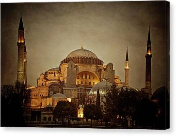 Hagia Sophia Istanbul Turkey Night Canvas Print