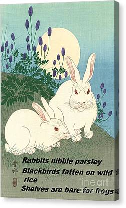 Canvas Print featuring the painting Haiku  Rabbits Nibble Parsley by Pg Reproductions