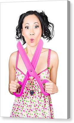 Hair And Beauty Model With Comic Scissor. Haircut Canvas Print by Jorgo Photography - Wall Art Gallery