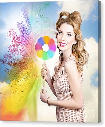 Hair And Makeup Coloring Concept Canvas Print