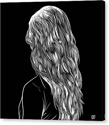 Canvas Print featuring the drawing Hair In Black by Giuseppe Cristiano