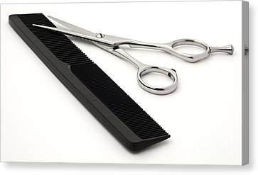 Blades Canvas Print - Hair Scissors And Comb by Blink Images