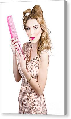 Hair Style Model. Pinup Girl With Large Pink Comb Canvas Print by Jorgo Photography - Wall Art Gallery